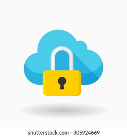 Cloud security icon, vector illustration. Flat design style with   shadow,eps10
