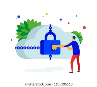 Cloud security. The user opens closes the cloud service lock. Vector illustration. Separate objects.