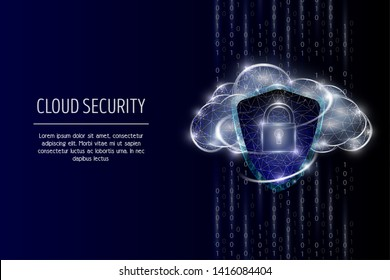 Cloud security vector poster banner template. Security shield, padlock and cloud, low poly wireframe mesh. Data protection polygonal art style illustration.