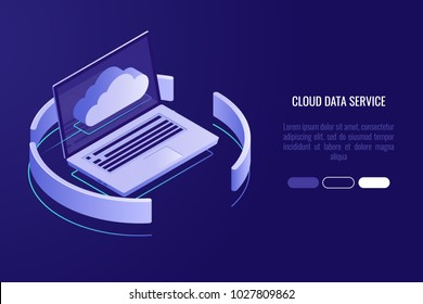 Cloud server banner, laptop with cloud icon isometric vector illsutration