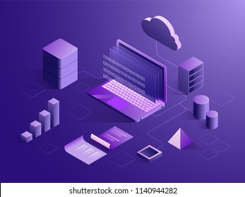 Cloud server connect with laptop, binary coding on screen, with bar graph, isometric design for Data Storage or Analysis concept.