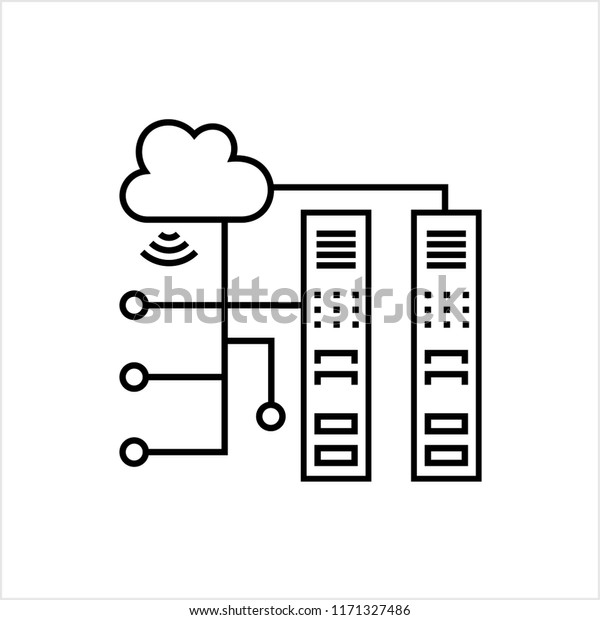 Cloud Server Icon Vector Art Illustration Stock Vector