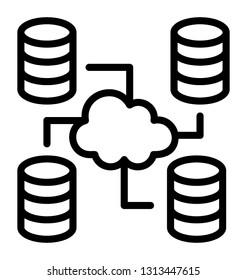 Cloud server line icon concept