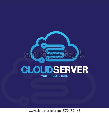 cloud server logo design server host のベクター画像素材
