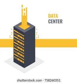 Cloud server of storing digital data concept, isometric server rack, hardware equipment, data center 3d vector illustration