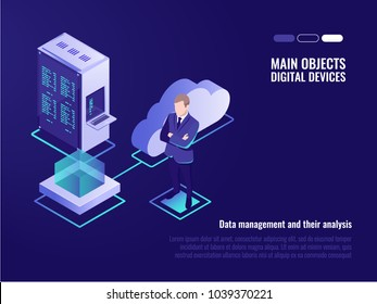 Cloud servers, web site hosting, global files storaging, server rack, businessman, cloud icon, isometric vector illustration
