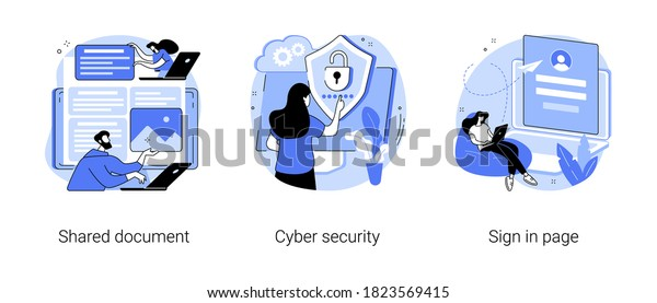 Cloud service access abstract concept vector illustration set. Shared document, cyber security, sign in page, public folder access, editing online, data protection, user login abstract metaphor.
