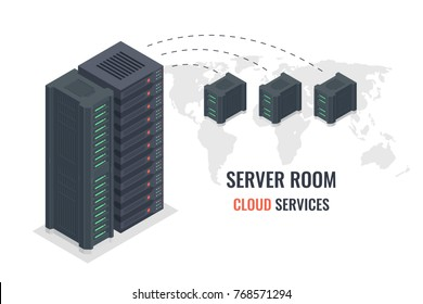 Cloud service concept, remote server data transmission scheme vector isometric, data center, server room on world map background isolated on white