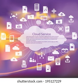 Cloud service flat icons pack vector illustration