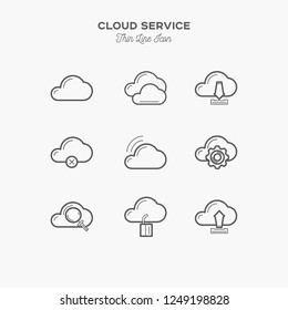 Cloud service icons sings set. Thin line art icons. Flat style illustrations isolated on white. Line icons for design projects.