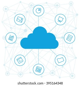 Cloud service for project and cloud computing. Cloud tools for backend as a service. Cloud technology and service for management. Vector cloud computing tools and service for Web development