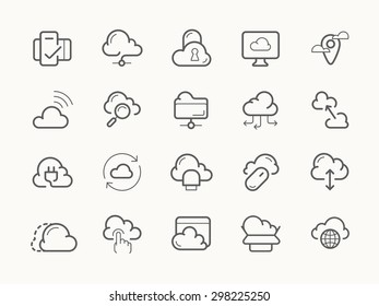 Cloud service server hosting line stroke vector icons.