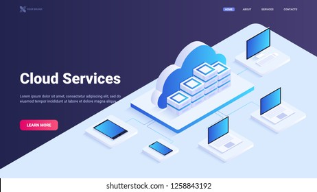 Cloud service site concept. Vds/vps, cloud technology, cloud computing. Data access using different devices: laptop, desktop, tablet, smart phone. Vector isometric illustration for landing page.