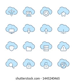 Cloud service, Storage and Cloud network technology related blue line colored icons.