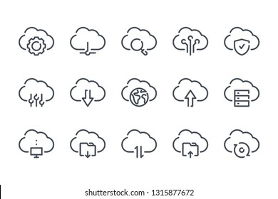 Cloud service and technology line icons. Cloud network and data vector linear icon set.