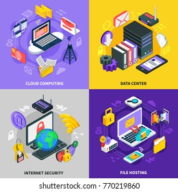 Cloud services 2x2 design concept set of cloud computing data center Internet security and file hosting square compositions isometric vector illustration