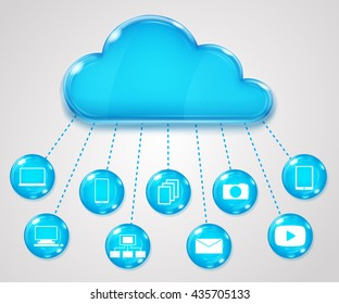 Cloud services concept on gray background