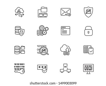 Cloud services and database protection vector linear icons set. Cloud storage outline symbols pack. Collection of internet hosting and server data transfer icons isolated contour illustrations