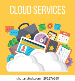 Cloud services flat illustration. Flat design concepts for web banners, web sites, printed materials. Creative vector illustration