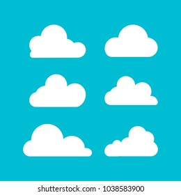 Cloud. Set of silhouette in flat style. Collection of cloud icon , shape, label, symbol. Graphic element vector. Vector design element for logo, web and print. Illustration