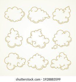 Cloud set, Sketch hand drawn on