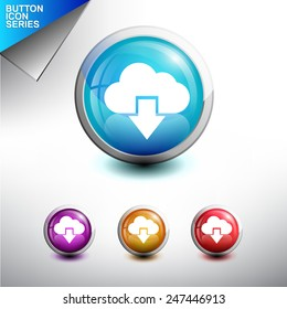 Cloud Share Icon. Glossy Button Icon Set. Vector Illustration