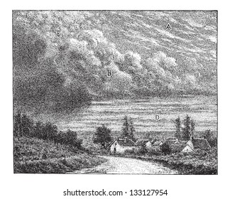 Cloud, showing types (A) Cirrus, (B) Cumulus, (C) Nimbus, (D) Stratus, and (E) Cirrocumulus, vintage engraved illustration. Dictionary of Words and Things - Larive and Fleury - 1895