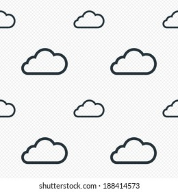 Cloud sign icon. Data storage symbol. Seamless grid lines texture. Cells repeating pattern. White texture background. Vector