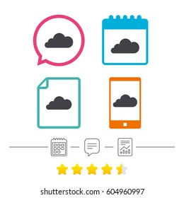 Cloud sign icon. Data storage symbol. Calendar, chat speech bubble and report linear icons. Star vote ranking. Vector