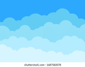 Cloud and sky background in flat style. Cartoon blue cloudy panorama. Cloudscape decorative texture backdrop. Nature heaven wallpaper poster. Clouds horizon space cover. vector illustration
