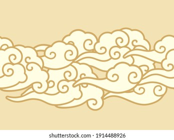 cloud in the sky pattern. Vector seamless border in oriental style