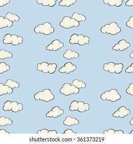 Cloud sky seamless pattern. Hand drawn vector illustration.