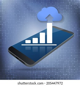 Cloud Smartphone Data Growth. Cloud computing and big data concept with rising bar chart and blue cloud on top of smartphone. Layered file for easy customization. Fully scalable vector illustration.