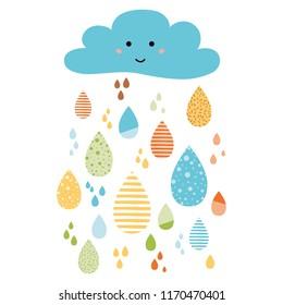Cloud smile Funny colorful drops of rain clouds Vector autumn nature banner Smile Character Kids fall background Autumn doodles card Season of the rain, illustration cute color doodle print wrap scrap
