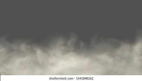 Cloud of smoke or fog, road dust, urban smog. White cloudiness isolated transparent effect.
