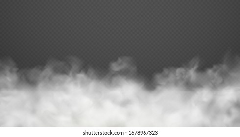 Cloud smoke or fog, road dust, urban smog. White cloudiness isolated transparent effect.