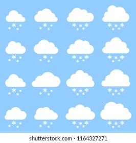 Cloud and snow on blue background