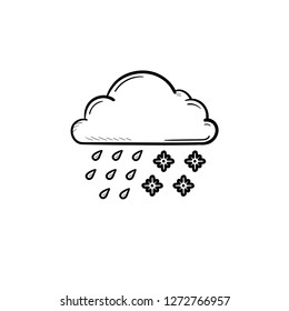 Cloud with snow and rain hand drawn outline doodle icon. Sleet weather and storm, weather forecast concept. Vector sketch illustration for print, web, mobile and infographics on white background.