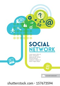 Cloud Social Media Network concept background design layout for poster flyer cover brochure