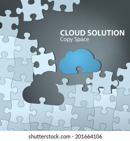 Cloud Solution. Cloud computing concept with blue cloud as the missing piece of the puzzle. Fully scalable vector illustration.