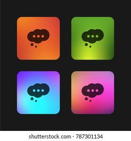 Cloud speech bubble with ellipsis four color gradient app icon design