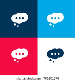 Cloud speech bubble with ellipsis four color material and minimal icon logo set in red and blue