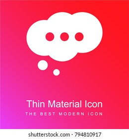Cloud speech bubble with ellipsis red and pink gradient material white icon minimal design