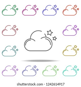 cloud of the star concept line icon. Elements of winter in multi color style icons. Simple icon for websites, web design, mobile app, info graphics