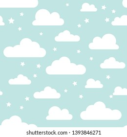 Cloud and Star vector illustration. Blue sky with clouds and star seamless pattern vector. White seamless pattern design and baby art and baby shower texture design.