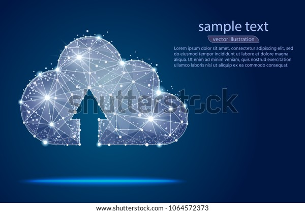 Cloud Storage Abstract Designisolated Low Poly Stock Vector