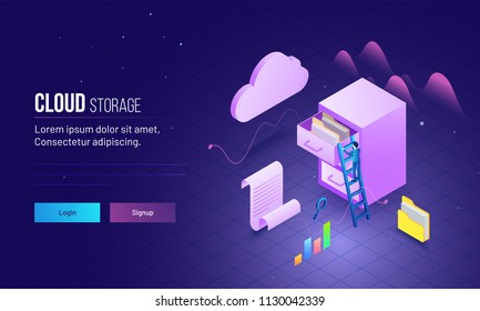 Cloud Storage based landing page design with skyscraper's view of man climbing on ladder to save or store data file folder.