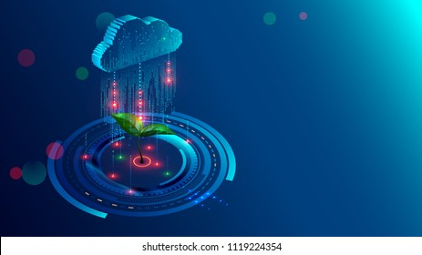 Cloud storage with big data analysis processing. Data information flow analyzing helping business analytics, management and strategy. Information technologies isometric illustration concept.