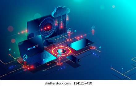 Cloud storage communication with computer, laptop, tablet and smartphone in home or work network. Online devices upload, download information, data in database on cloud services. Isometric concept.
