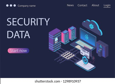 Cloud storage communication with laptop and smartphone in home or work network. Online devices upload, download information, data in database on cloud services. Cyber, data security,Isometric concept